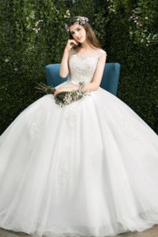 Robe de mariée Sans Manches Soie a ligne Elégant Naturel taille