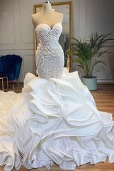 Robe de mariée Sirène Printemps Organza Manquant Sans Manches Au Drapée
