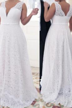 Robe de mariée Dentelle a ligne Zip Col en V Elégant Naturel taille