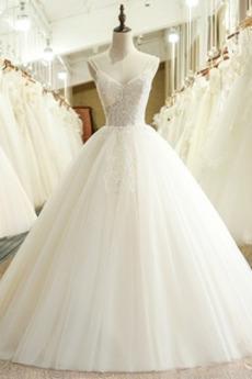 Robe de mariée Salle Triangle Inversé aligne Au Drapée Formelle Couvert de Dentelle