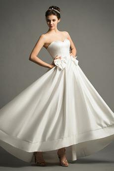 Robe de mariée Col en Cœur Naturel taille Orné de Nœud à Boucle
