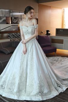 Robe de mariée Trou De Serrure Traîne Royal Naturel taille Couvert de Dentelle