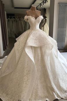 Robe de mariée Soie Mancheron Épaule Dégagée Au Drapée Salle Lacez vers le haut