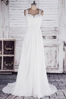 Robe de mariée Empire Train de petit Perle Plage Col en Cœur Triangle Inversé