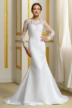 Robe de mariée Printemps Maigre Dos nu Couvert de Dentelle Col Bateau