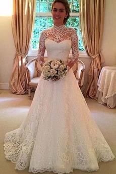 Robe de mariée Dentelle A-ligne Elégant Traîne Longue Tissu Dentelle