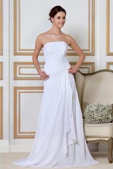 Robe de mariée Hiver Plage Chiffon Lacet Naturel taille Ample & Ornée