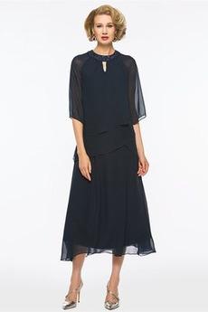 Robe Mère de Mariée Naturel taille Elégant Norme Perle Zip Mousseline de soie