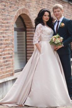 Robe de mariée Longue Froid Glissière Eglise Elégant A-ligne