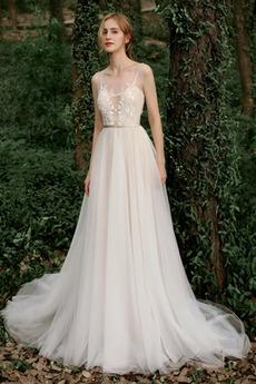 Robe de mariée Tulle A-ligne Glissière Jardin Multi Couche Perles