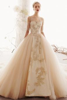 Robe de mariée Tulle Glissière Appliquer Manquant A-ligne Multi Couche