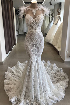 Robe de mariée Sirène Sans Manches Tulle Col de chemise t Tribunal train