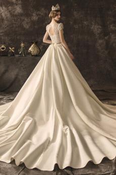 Robe de mariée Manche Courte Salle Norme aligne Automne Col en V