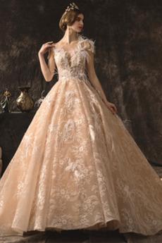 Robe de mariée Plumes Couvert de Dentelle Traîne Royal Col ras du Cou