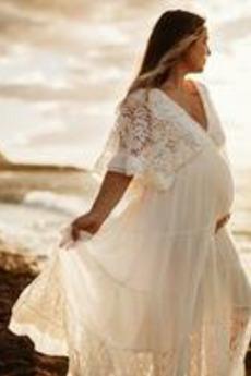 Robe de mariée Empire Grossesse Printemps Longueur ras du Sol Jardin
