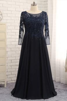 Robe Mère de Mariée Fourreau Avec Bijoux A-ligne Printemps Chiffon