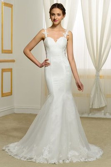 Robe de mariée Dos nu Glamour Taille chute Tissu Dentelle Sirène