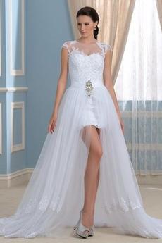 Robe de mariée Chic Ruché Sans Manches Asymétrique Col Bateau