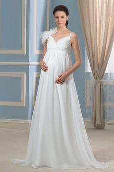Robe de mariée Grandes Tailles Chiffon Epurée Sans Manches Bretelles Spaghetti