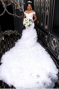Robe de mariée Sirène Manche Courte Ruchés Plongeants Mancheron