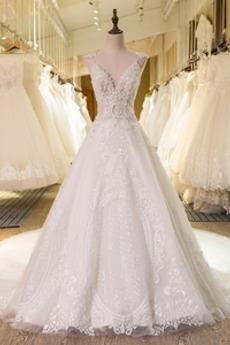 Robe de mariée Traîne Royal noble a ligne Col en V Manquant Satin