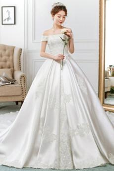 Robe de mariée Cathédrale Épaule Dégagée Broderie Lacet Cérémonial