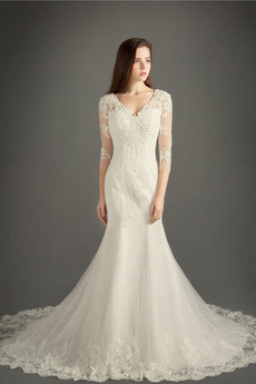 Robe de mariée Zip A-ligne Tulle Salle Naturel taille Formelle