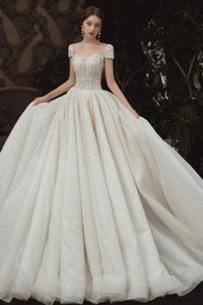 Robe de mariée Lacet Étoilé Fourreau Avec Bijoux Cérémonial Manche Courte