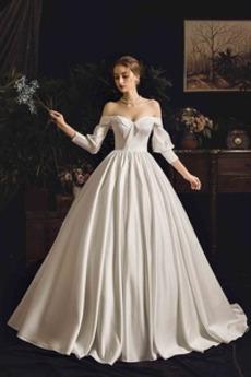 Robe de mariée Traîne Mi-longue Bouton Fourreau plissé Épaule Dégagée