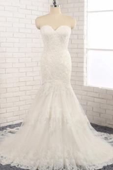 Robe de mariée Dos nu Tissu Dentelle Perle Naturel taille Couvert de Dentelle