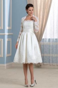 Robe de mariée Manche Longue fin Décolleté Dans le Dos Manche Aérienne