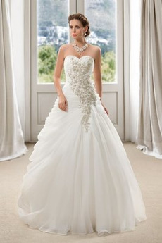Robe de mariée Corsage Avec Bijoux Longueur au sol Naturel taille
