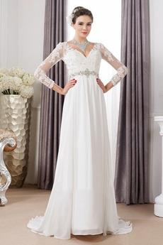 Robe de mariée Manche Longue Gaze De plein air Haut Bas Manche Aérienne