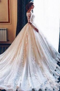 Robe de mariée A-ligne Tulle Manche Longue Triangle Inversé Cérémonial
