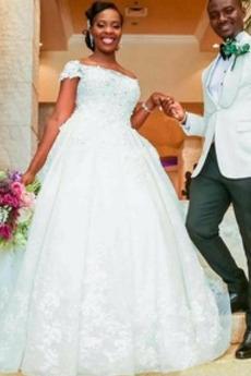 Robe de mariée Fermeture éclair Hiver Couvert de Dentelle Pomme
