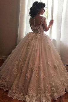 Robe de mariée Longue Printemps Perle Salle Soie Sans Manches