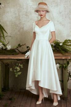 Robe de mariée Asymétrique Manche de T-shirt Rivage Manche Courte