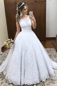 Robe de mariée Tulle Orné de Nœud à Boucle Dentelle Glissière