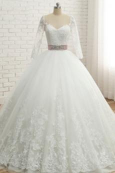 Robe de mariée Classique Couvert de Dentelle Longue A-ligne Naturel taille