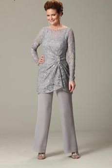 Robe de mère pantalon de costume Vintage Longueur Cheville Manche Longue