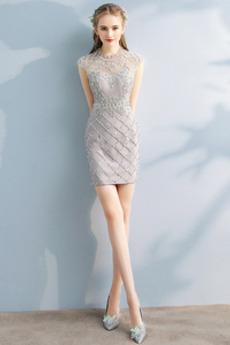 Robe de Cocktail Zip fin Perle Naturel taille A-ligne Corsage Avec Bijoux