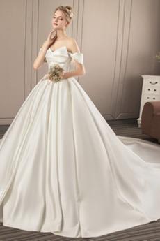 Robe de mariée Fourreau plissé Manche Courte Satin Hiver Longue
