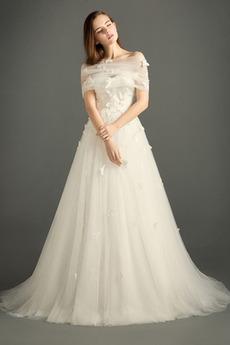 Robe de mariée Sans Manches a ligne Elégant Rivage Tulle Orné de Nœud à Boucle