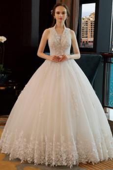 Robe de mariée Formelle a ligne Naturel taille Au Drapée Lacet Chapelle