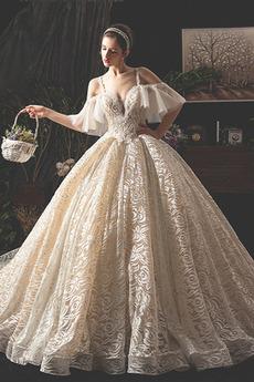 Robe de mariée Hiver Sage Au Drapée A-ligne Norme Sans Manches