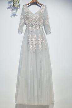 Robe Demoiselle d'Honneur Longueur ras du Sol Appliquer Col en V
