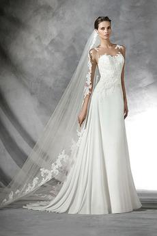 Robe de mariée Traîne Courte Gazer Sans Manches vogue Printemps