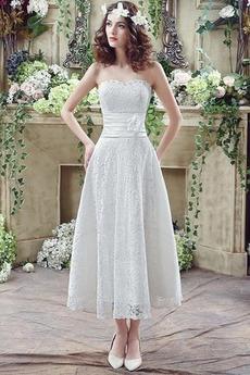 Robe de mariée Lacet Mince Chic Naturel taille Orné de Rosette