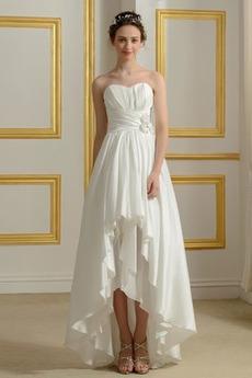 Robe de mariée De plein air Dos nu Asymétrique Avec Jacket Naturel taille