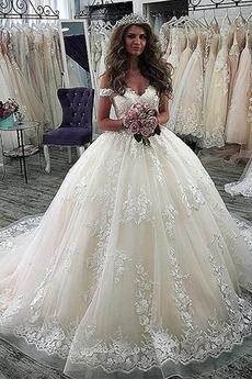 Robe de mariée Appliques Décolleté Dans le Dos Formelle Satin